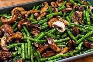 Roasted green beans and mushrooms in a balsamic blend topped with ...