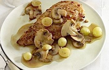 : Classic French recipe for a dish of chicken cooked in white wine ...