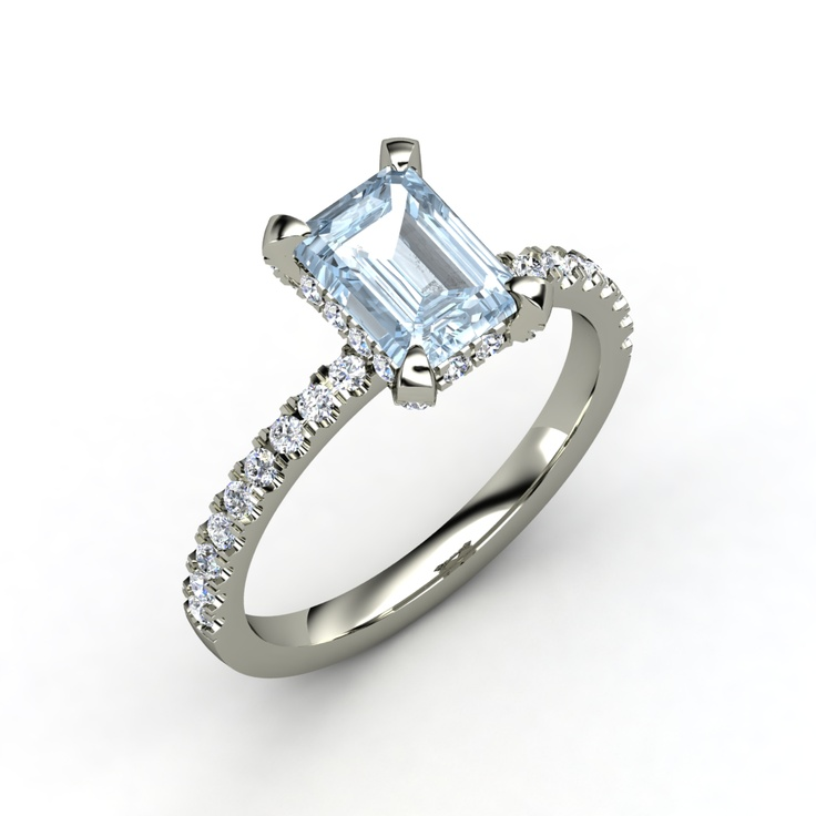 platinum emerald cut aquamarine ring my style