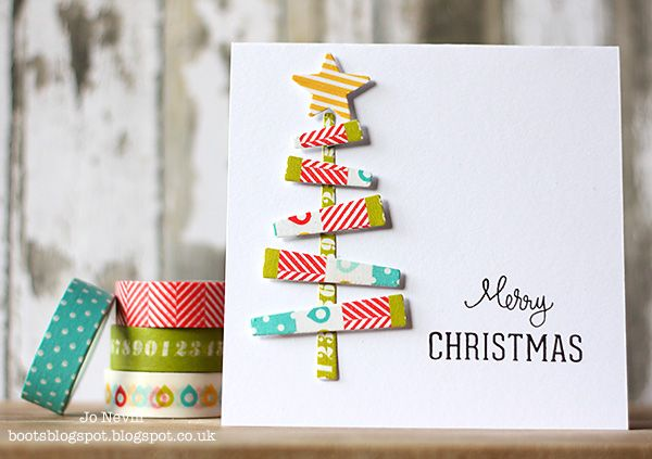 Loving #Kelly Purkey Washi Tape for those modern Christmas cards !  More details on my blog http://bootsblogspot.blogspot.co.uk/2013/12/washi-tree.html