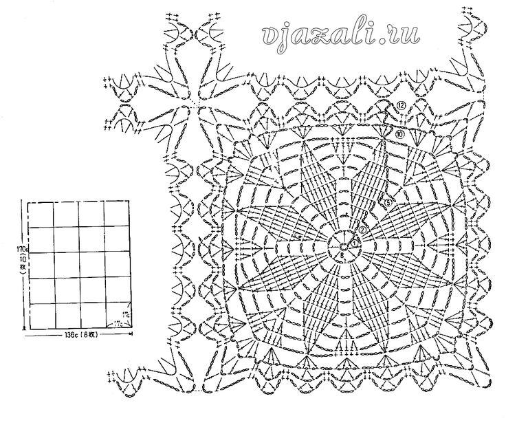 Мотивы для вязания скатерти крючком со схемами мотивы 2
