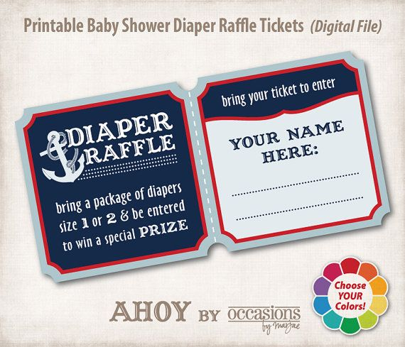 baby shower diaper raffle tickets digital file ahoy nautical theme