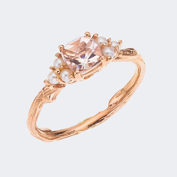 Rose Gold Ring Morganite Rose Gold Ring Antique
