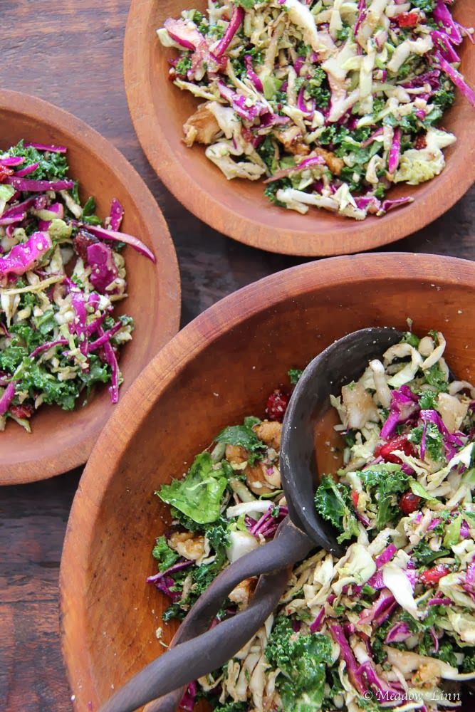 Winter Slaw (Kale, Cabbage, Brussels Sprouts, and Broccoli)