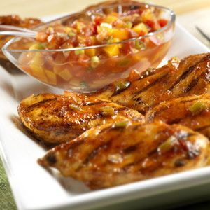 Jazzed-up chicken sports a sweet-and-spicy glaze made with peach ...