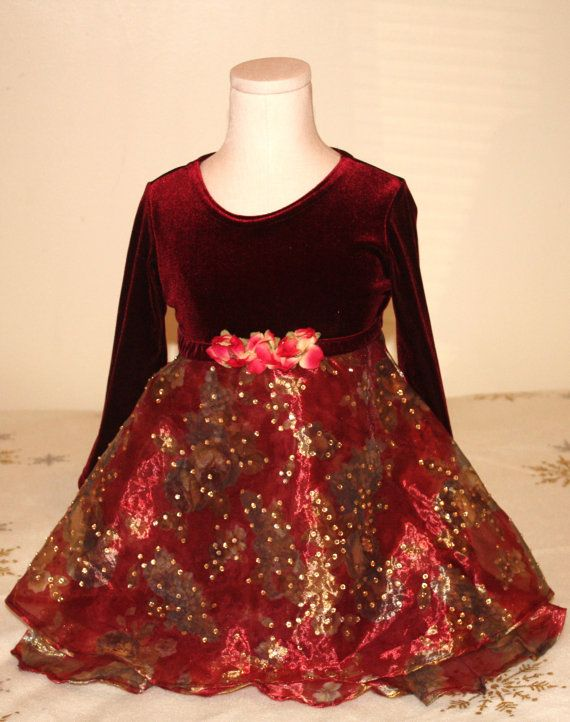 Red and gold rhinestone christmas dress