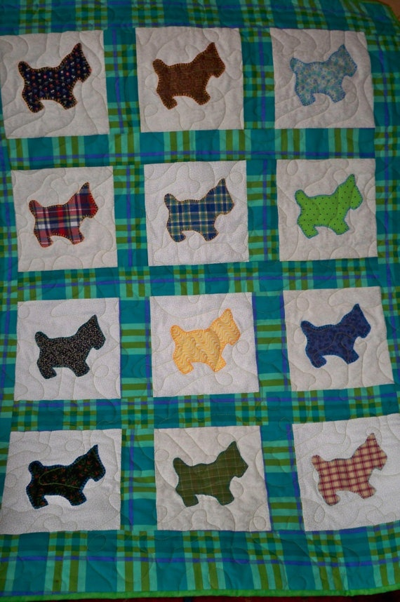 Baby Quilt- Playful Scottie Dogs Vintage Fabrics