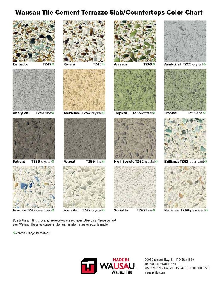 Wausau Terrazzo Color Chart Pg2 Industrial Kitchen Ideas
