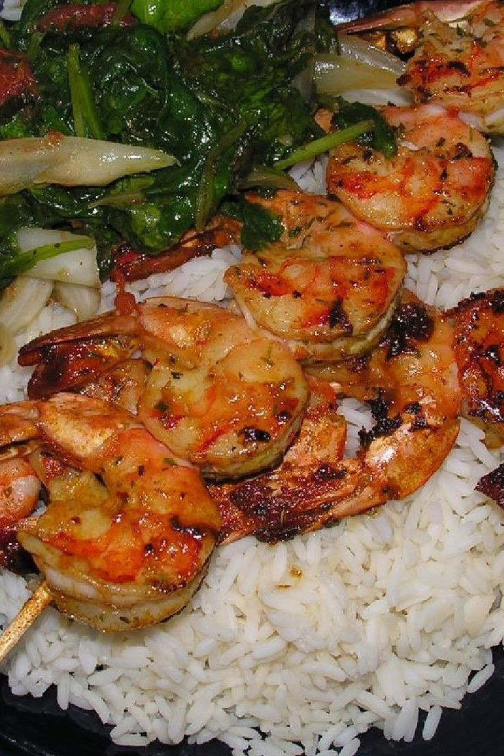Tandoori Shrimp With Rice and Peas - serving with Jasmine brown rice ...