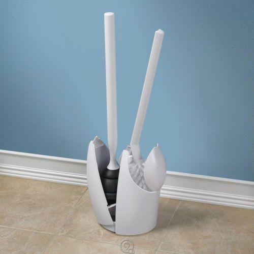 umbra discreet toilet bowl brush and plunger storage holder clam sh. Black Bedroom Furniture Sets. Home Design Ideas