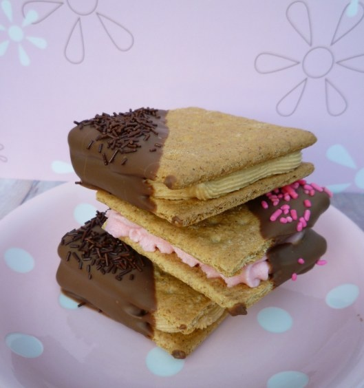 Graham Cracker Sandwiches Dipped in Chocolate - great for a take along ...