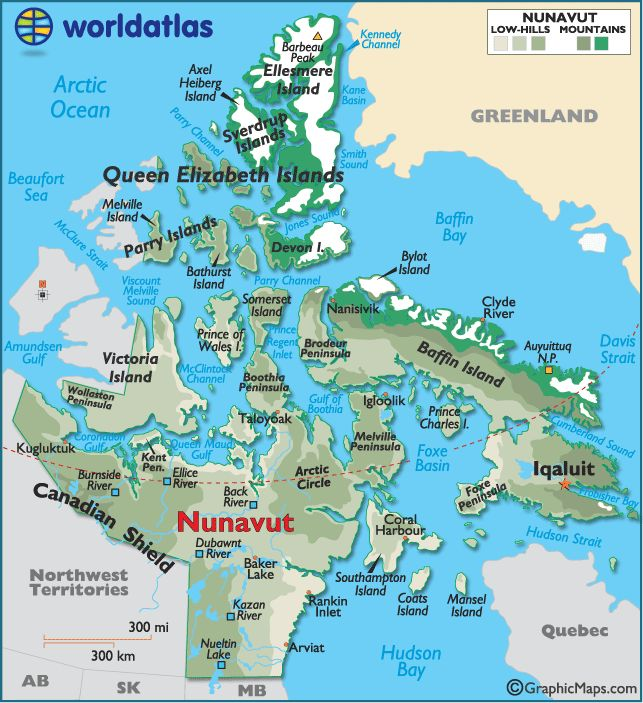 nunavut on the map