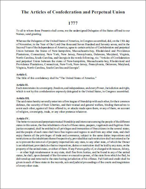 an analysis of articlse of confederation 935 [1231] articles of confederation historical background while the declaration of independence was under consideration in the.