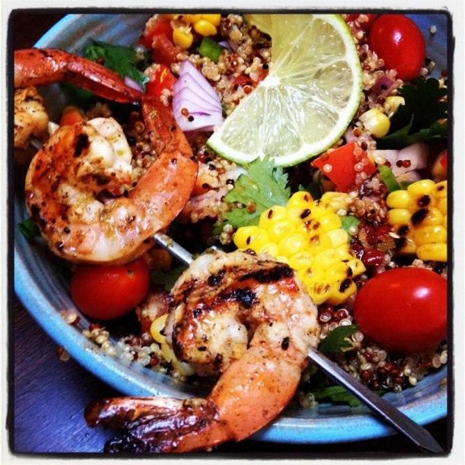 ... LIME SHRIMP WITH GRILLED CORN AND QUINOA SALAD - SmittenFoodie.com
