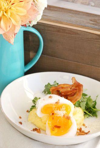 ... Vide Soft Cooked Goose Egg served over Polenta with Pancetta & Greens