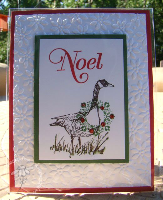 Stampin'Up!... handmade Christmas card featuring  Wetlands Canadian Goss with a wreath around its neck ... background panel with snowflake embossing ... green and red mats ... fun card ...