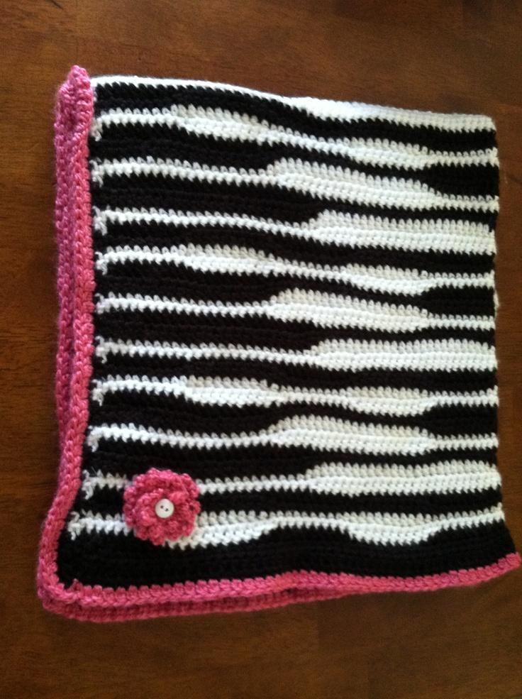 Handmade crochet zebra blanket