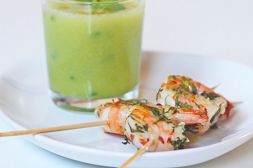 honeydew gazpacho with fiery shrimp | Food references | Pinterest