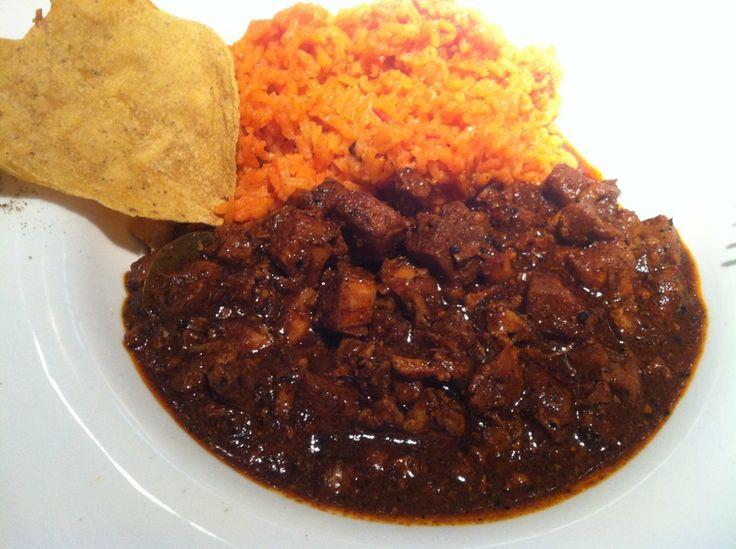 Asado norte o carne de puerco con chile rojo y arroz - Guiso de carne de cerdo ...