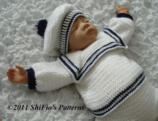Free Crochet Pattern Baby Sailor Hat : CROCHET PATTERN for BABY BOY SAILOR TOP, TROUSER & HAT 0-3 ...