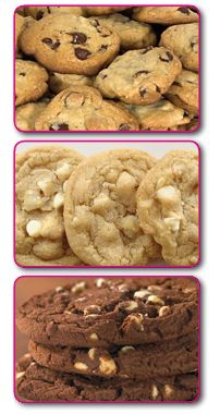 Chip, White Chocolate Macadamia Nut and Double Chocolate Chip cookies ...