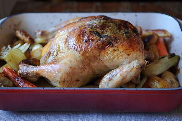 Lemon and Onion Roasted Chicken - sub sweet potatoes or turnips for ...