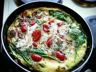 Spinach, Tomato & Halloumi Omelette | BREAKFASTS | Pinterest