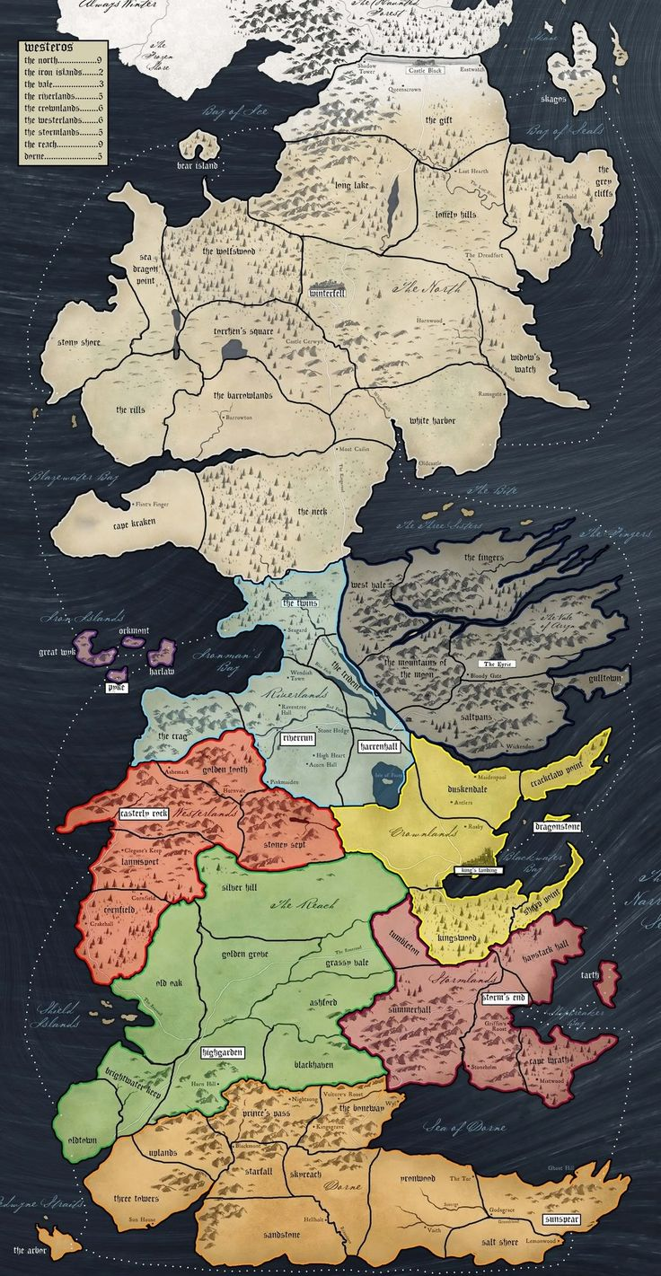 Westeros Map By House Fantasy Maps Pinterest Style