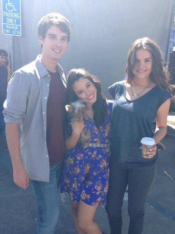 David Lambert, Cierra Ramirez and Maia Mitchell on the set of The