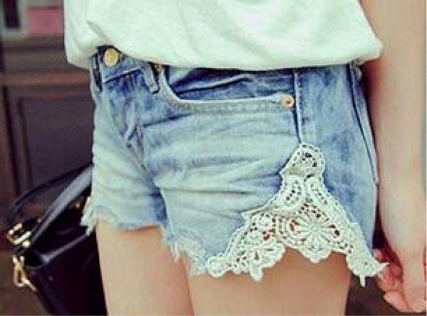 DIY Lace Insert Shorts