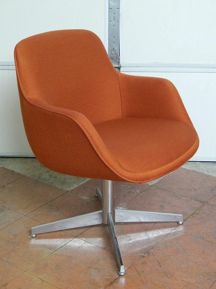 Vtg steelcase office desk chair burnt orange modern retro style 1980s