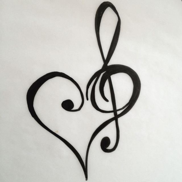 heart and treble clef tattoo design tattoos pinterest. Black Bedroom Furniture Sets. Home Design Ideas