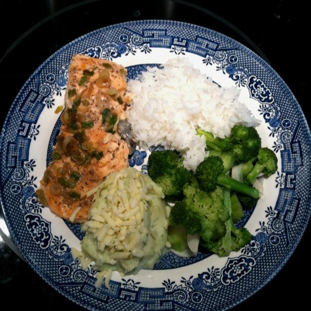 Steamed ginger scallion salmon, garlic braised broccoli, cauliflower ...