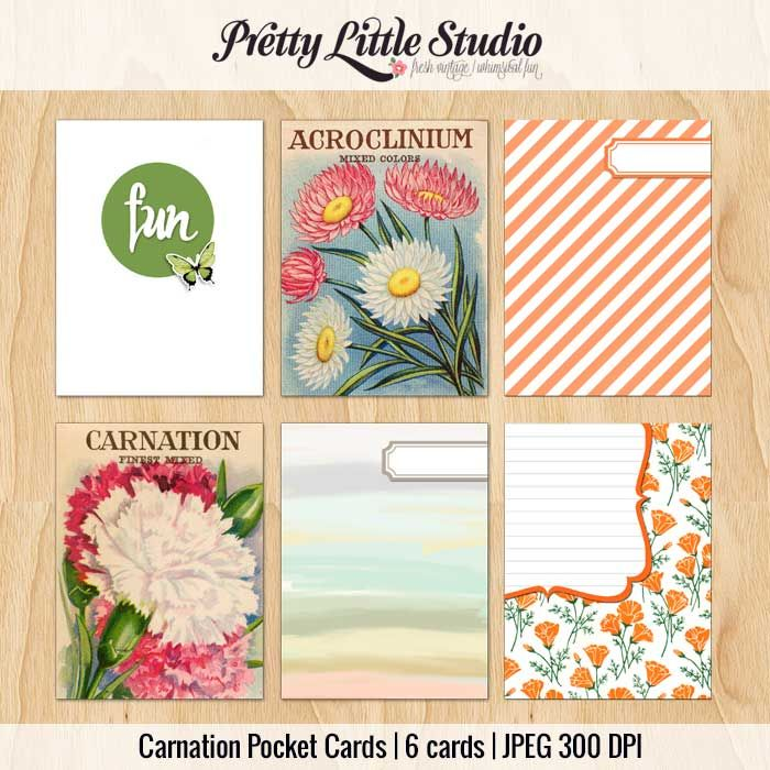Free Carnation 3x4 Pocket/Journal Cards from Pretty Little Studio via The Pocket Source