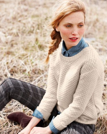Relaxed Textured-Stitch Sweater... love it with the denim shirt and plaid pants!