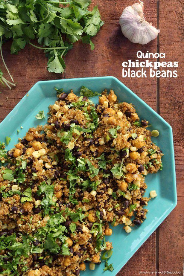 Quinoa, Chickpea, and Black Bean Salad    gluten-free, vegan recipe by ...