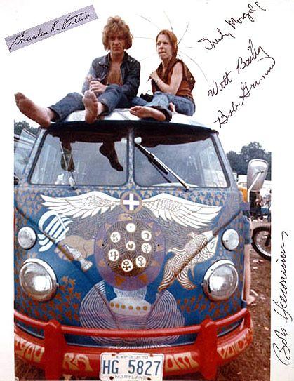 Buses at Woodstock in 1969