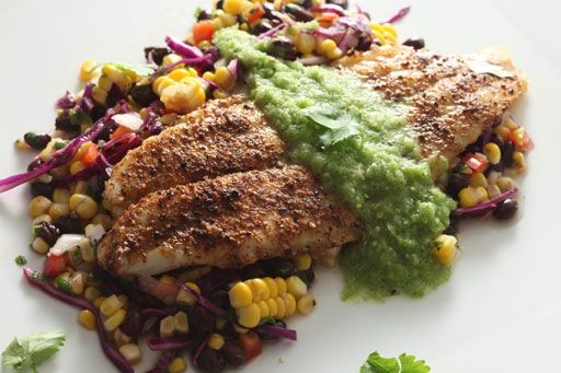 Spicy Baked Tilapia with Black Bean & Corn Salsa and Salsa Verde