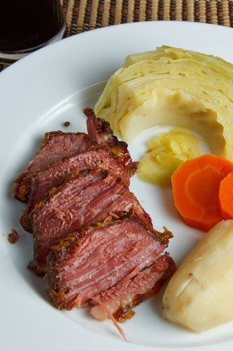Corned Beef Glazed in Honey and Mustard Dinner with Cabbage | Recipe