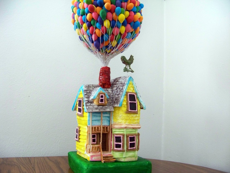 Up House - carved cake covered with fondant. For the balloons I used a ...