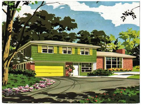 1950s Vintage Suburban House Home Retro Fallout Shelter