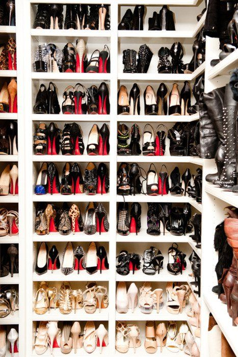 I'd love my closet to look like this & be filled with these shoes...Hey, a girl can dream.