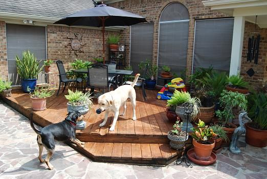 Nice Backyard Decks : nice deck and flagstone patio  Backyard  Pinterest