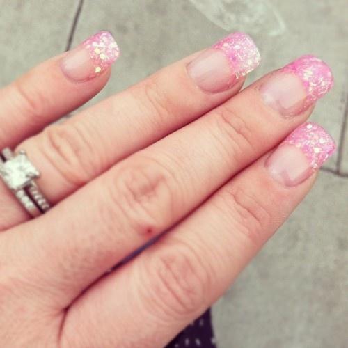New Pink Glitter Tips!
