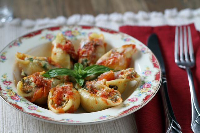 Stuffed Shells -- ricotta, mozzarella, sausage, spinach and herbs