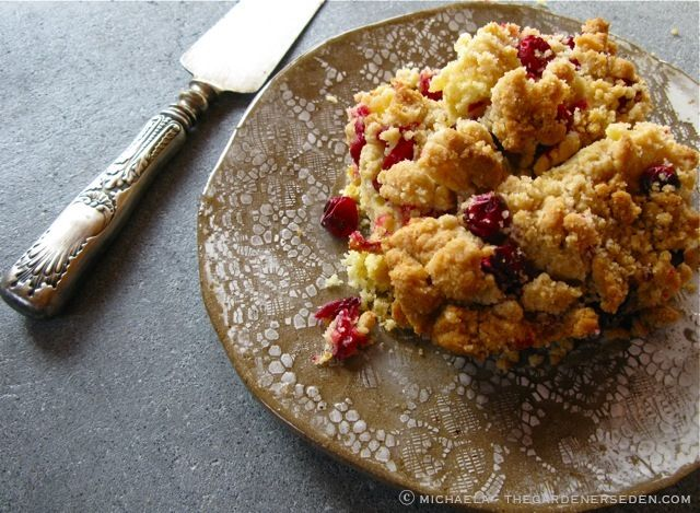 Apple-Cranberry Buckle with Vanilla Crumb Topping ... Delicious now ...