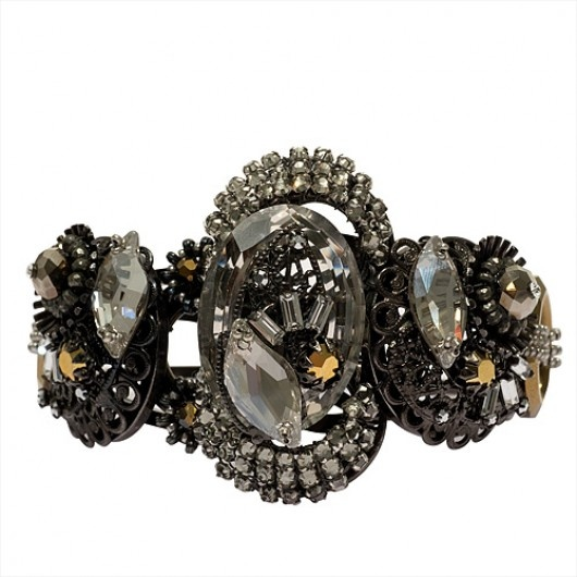bracelet with faceted Swarovski crystals, layers of black diamond ...
