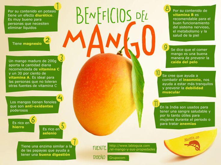 El mango es un alimento de sabor exquisito, de fácil consumo y, además, muy saludable. Una pieza de esta fruta de unos 200 g cubre las necesidades diarias de vitamina C en un individuo adulto, el 30% de las de vitamina A y el 23% de las de vitamina E.