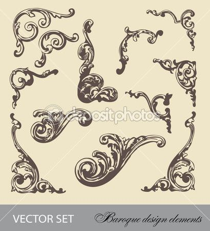 Baroque design elements stock vector for the home for Baroque architecture elements