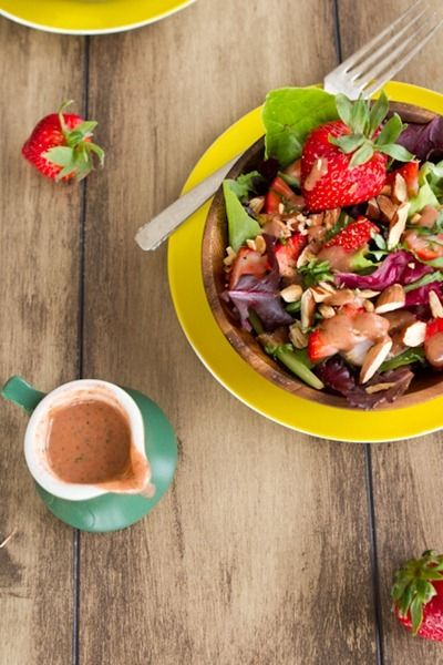 Spring Salad with Strawberry Lemon Basil Dressing by Oh She Glows